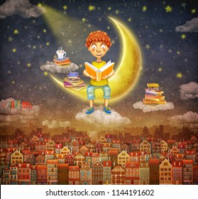 Illustration of  little  young ginger boy   reading a book   on moon   ,background of  cute houses in night sky .Concept art