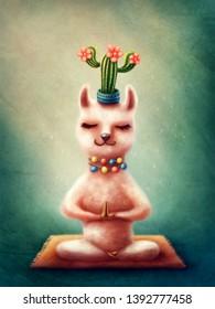 Illustration of a llama doing yoga