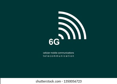Illustration, logo 6G. Speed of the massive connectivity of the device and new protocols in development. Telecommunications Sixth Generation Network Connectivity. Cellular mobile communications.