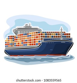 Illustration of logo Container Ship, cargo ocean merchant shipping vessel container, big commercial freighter ship floating on sea waves on blue background.
