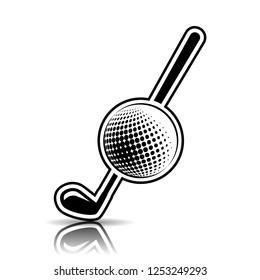Illustration logo design for golf on white background