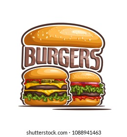 Illustration of logo for double burgers, cut bun with sesame seeds, beef hamburger with grilled patty, slice of cheese cheddar, leaf of lettuce. Big Burger menu for american fast food cafe takeaway.
