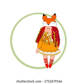 Illustration for logo.  Funny Doll-fox can be your logo for business