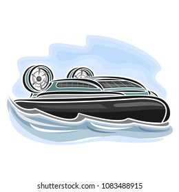 Illustration of logo for hovercraft on air-cushion, consisting of speed cartoon hover cushioncraft with propeller, floating on the sea waves close-up on blue background.