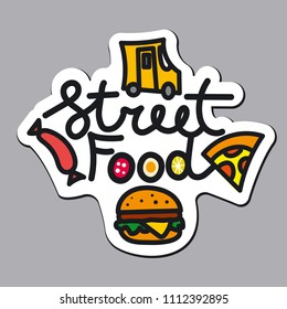 illustration of logo and icons for street food service