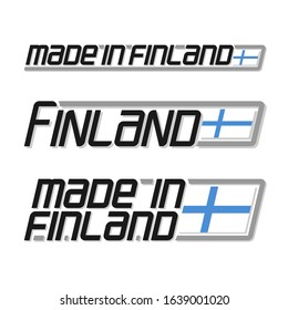 """Illustration of logo for """"made in Finland"""", consisting of three isolated finnish national state flags and text Finland on white background."""