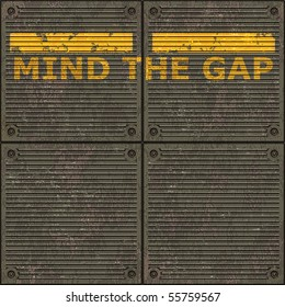 Illustration of the London underground Mind The Gap typical sign