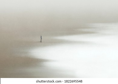 illustration of lonely man walking in the sand looking at the calm sea, surreal minimal seascape