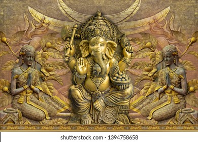 Illustration of Lord Ganesha Hindu God beside praying ladies emboss on decorative textured pattern background 3D wallpaper