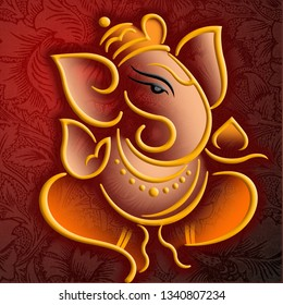 Illustration of lord ganesha on decorative brown background- Graphical poster modern art wallpaper
