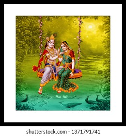Illustration of Lord Radha Krishna with flute on yellow decorative natural background 3D wallpaper. Modern artwork graphical poster