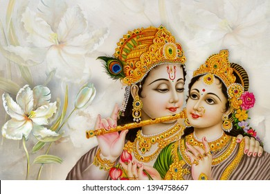 Illustration of Lord Radha Krishna hindu god decorative bright texture floral background 3D wallpaper. Graphical poster modern artwork