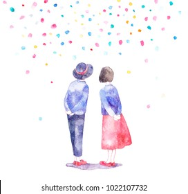 Illustration with lovely couple. Silhouette of boy and girl in watercolor style on a bright background. Love card.