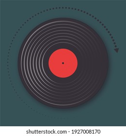 Illustration of an LP vintage vinyl record on a square green background and with a round rotation arrow.
