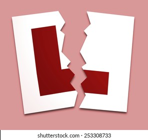 Illustration of a L-plate torn in two over a pink background