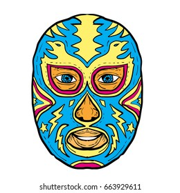 Illustration of a Luchador Mask with Eagle, Star and Lightning Bolt viewed from front done in Drawing hand-sketched style on isolated background