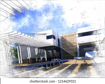 Illustration of a luxurious house exterior with a swimming pool