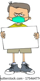 Illustration of a mad boy holding a blank sign and wearing a face mask.