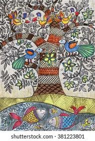 Illustration of magic tree, birds and fishes,  drawn manually