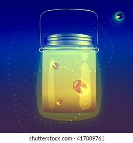 Illustration of magical glass jar with fireflies bugs. This is used in the design for registration cards, pages, wall, wallpaper, textiles ...