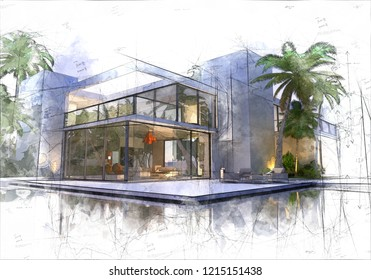Illustration of magnificent modern house surrounded by a pool and palm trees 3D rendering