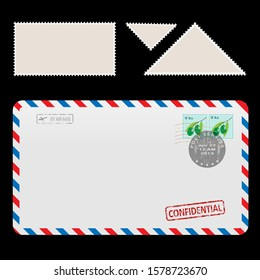 Illustration Mail Air Envelope Icon with set Postal Stamp isolated on black background.