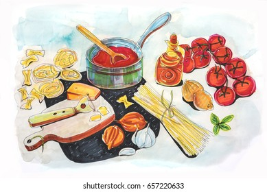 illustration of making Italian tomato's sauce