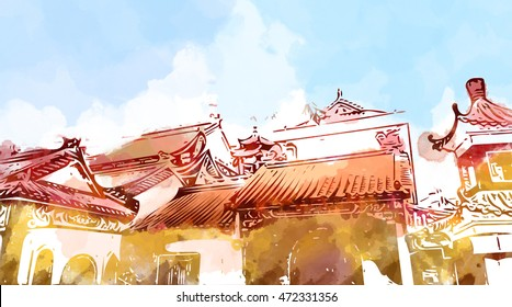 illustration of malaysia chinese temple. Water color graphic drawing. Idea of decoration, post card, scenery, building, culture, asia, heritage, religion, art, traditional, tourism, history background