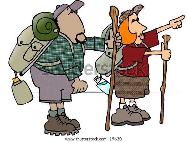 Illustration of a male and female backpacker with packs and walking sticks.