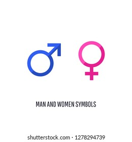 Illustration of the male and female sex symbols  isolated on white background.  Vector icon.