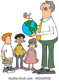 Illustration of a male teacher holding a world globe and explaining it to his students.