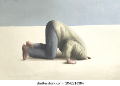 illustration of man burying head under the ground, surreal fear and shame concept