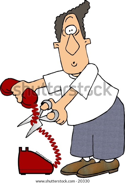 Illustration of a man cutting a phone cord with scissors.
