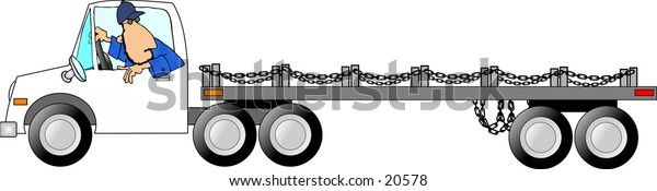 Illustration of a man driving a flatbed truck & trailer.