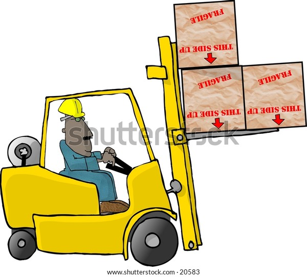 Illustration of a man driving a forklift.
