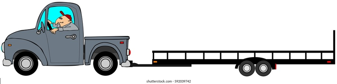 Illustration of a man driving a pickup truck pulling an empty flatbed trailer.