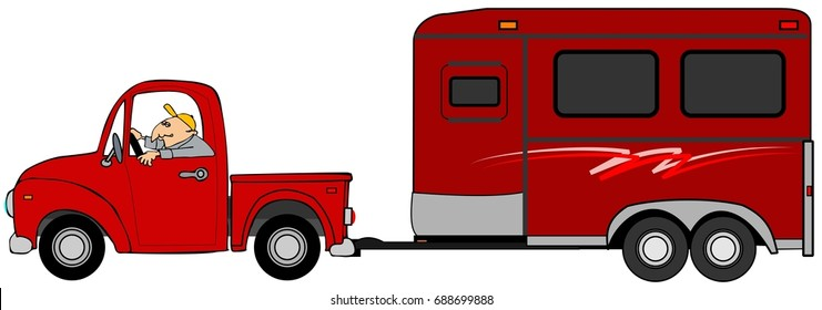 Illustration of a man driving a truck and towing a red horse trailer.