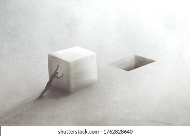 illustration of man filling hole with solid block, business concept