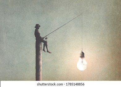 illustration of man fishing new ideas, creativity surreal concept