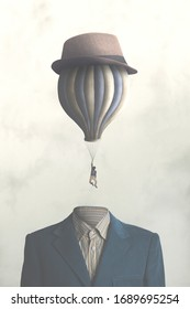 illustration of man flying out of his body with big balloon, surreal concept