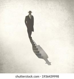 Illustration des Menschen, der in seinen Schatten, sein surreales Konzept hinabgeht