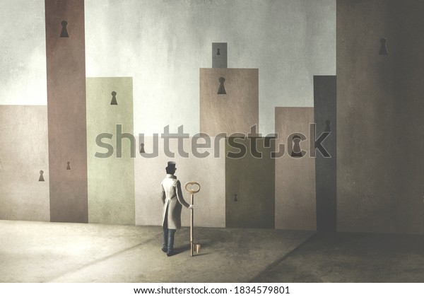 illustration of man holding big key in front of many locked doors, surreal solution abstract concept