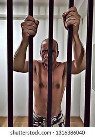 Illustration of man in jail with hands holding prison bars, captive prisoner