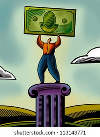 An illustration of a man lifting a bank note