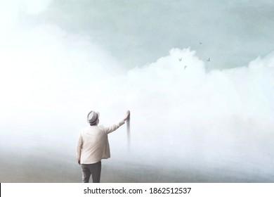 Illustration des Menschen in einer falschen Welt, surreales Konzept