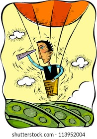 Illustration of a man looking through a telescope from a hot air balloon