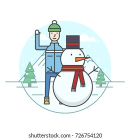 illustration of the man making a snowman on snowy mountains and fir trees background. Winter sport and activity topic.
