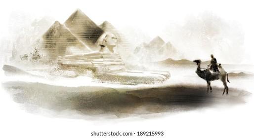 Illustration of man on camel in desert