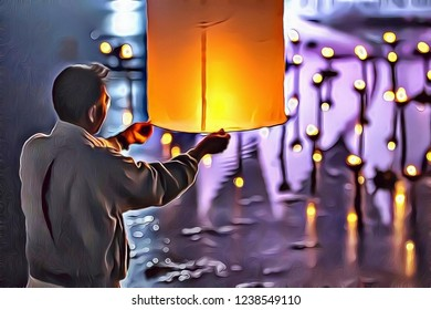 Illustration of man with paper sky lantern making wish and vow during Loy Krathong festival in Thailand, Asia, sky lantern festival colorful  background
