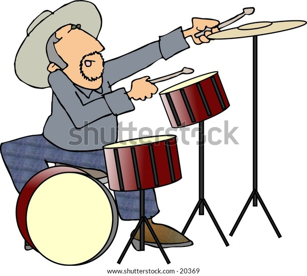Illustration of a man playing the drums.